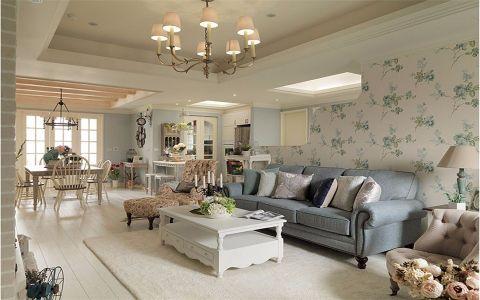 客厅彩色背景墙美式风格装潢图片