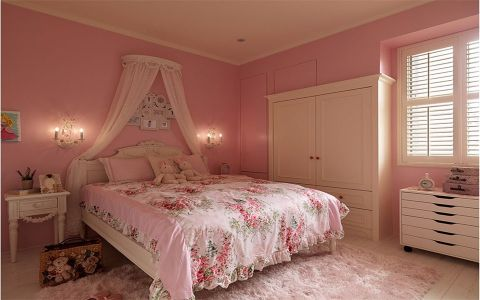 儿童房粉色背景墙美式风格装修效果图