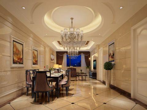 餐厅白色吊顶欧式风格装潢效果图