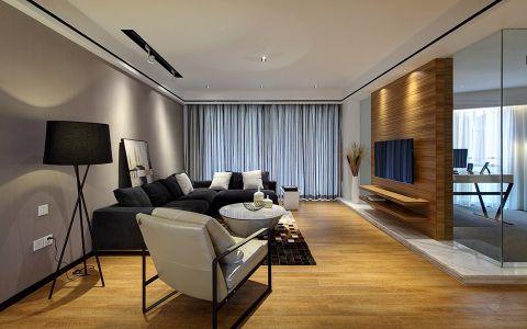 客厅灰色背景墙现代简约风格装潢设计图片