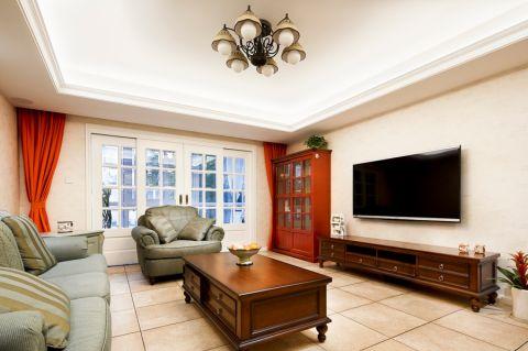 客厅黄色门厅美式风格装修图片