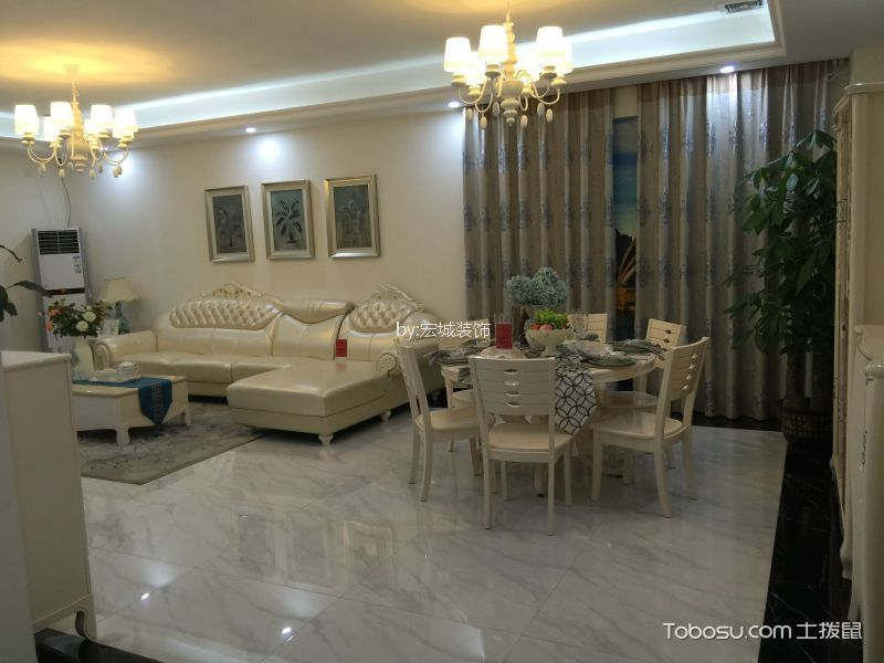 120平西西米亚风格三居室装修效果图