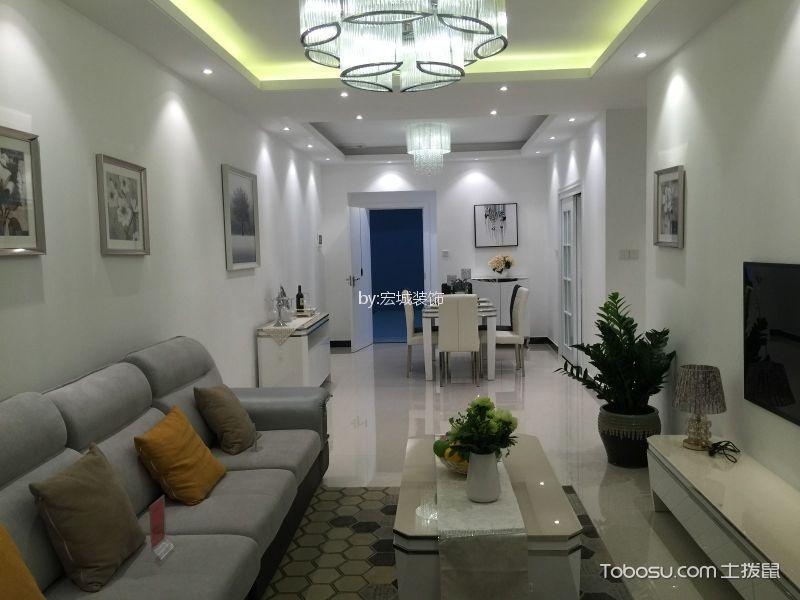 幸福家园100㎡后现代风格三居室香榭丽舍装修效果图