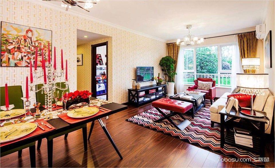 溪上玫瑰园90平米混搭风格二居室两居装修效果图