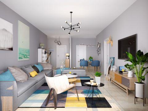 客厅博古架北欧风格效果图
