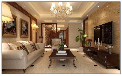 福花园112平方新中式风格三居室装修效果图