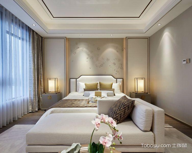卧室黄色背景墙新中式风格效果图