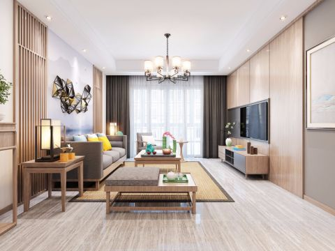 120平新中式风格三居室装修效果图