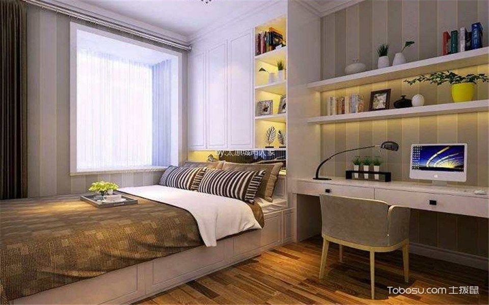 儿童房彩色榻榻米现代简约风格效果图