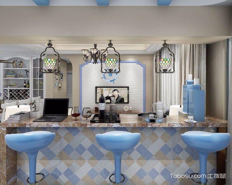 客厅蓝色隔断地中海风格装潢效果图