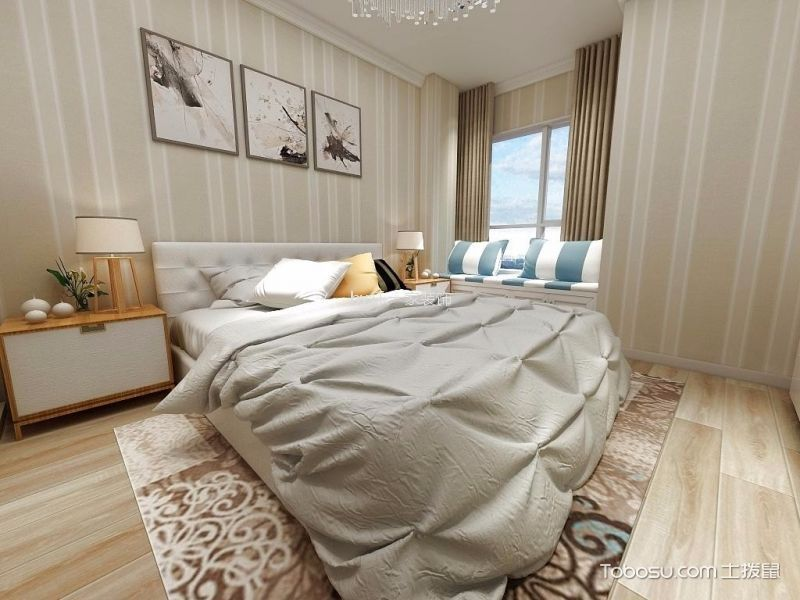 天星苑110m²现代简约风格三居室装修效果图