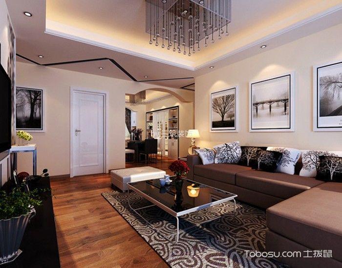 华润橡树湾110平现代风格三居室装修效果图