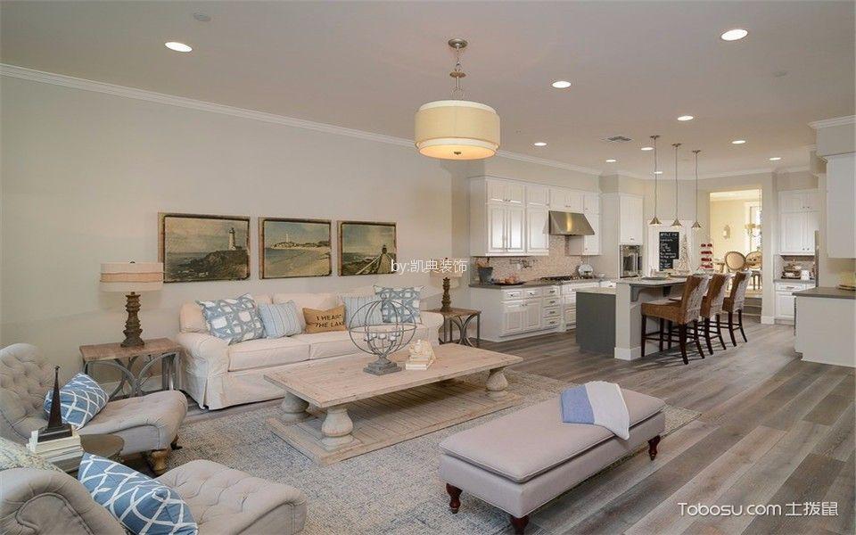百合果园140平美式风格四室两厅两卫装修效果图