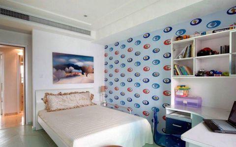 儿童房彩色背景墙现代简约风格装饰设计图片