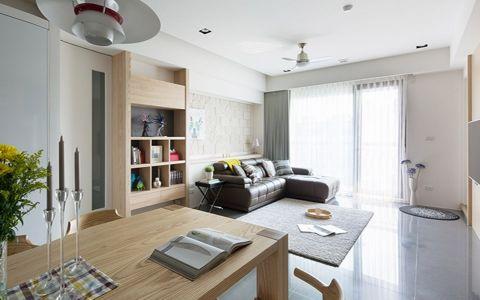 客厅灰色窗帘北欧风格装饰图片