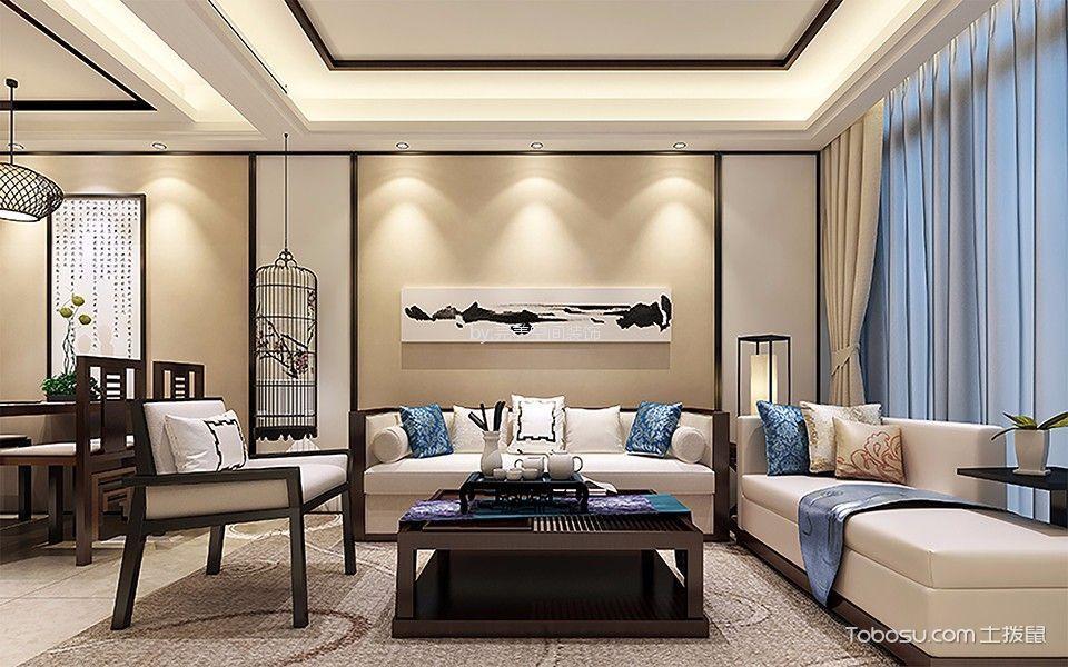 银河湾第一城中式风格三居室装修效果图