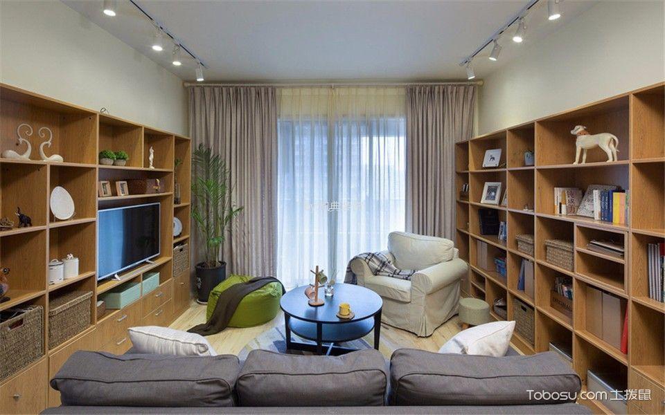 云谷山庄69平现代两室两厅一卫装修效果图