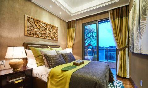 卧室窗帘东南亚风格装潢图片
