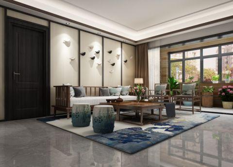 江汽六村126平米新中式风格三居室装修效果图