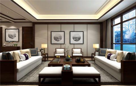 客厅白色背景墙简中风格装修设计图片