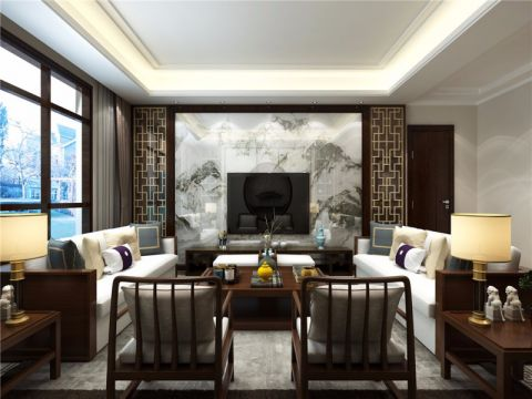 客厅灰色背景墙简中风格装饰设计图片