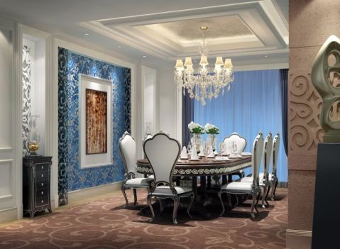 餐厅蓝色背景墙田园风格装修设计图片