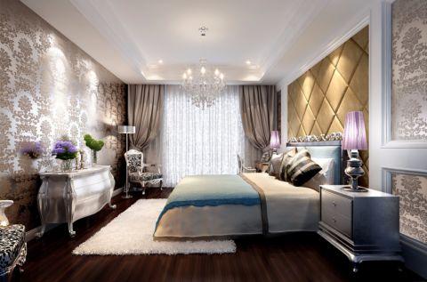 卧室橙色背景墙田园风格装饰设计图片