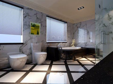 卫生间白色背景墙田园风格装潢设计图片