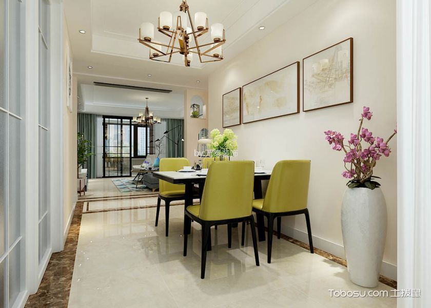 餐厅黄色背景墙现代简约风格装潢效果图