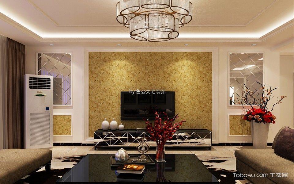客厅白色吊顶简欧风格装潢图片