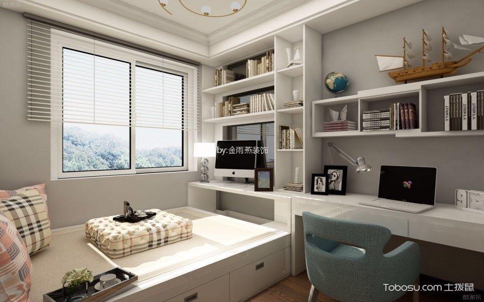 儿童房白色榻榻米现代简约风格装潢效果图