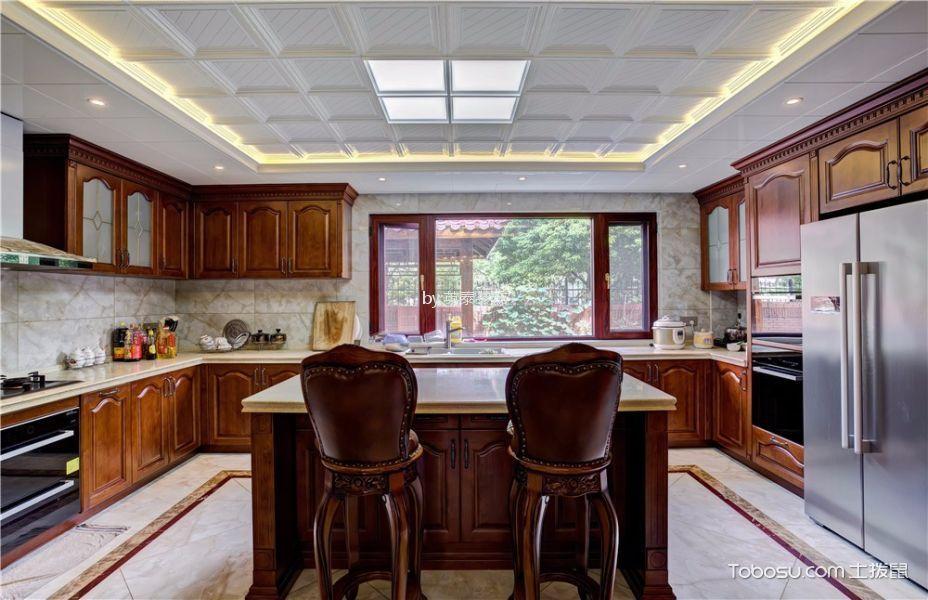 厨房咖啡色吧台美式风格效果图