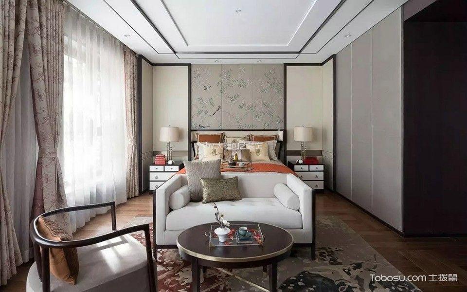 卧室白色吊顶新中式风格效果图