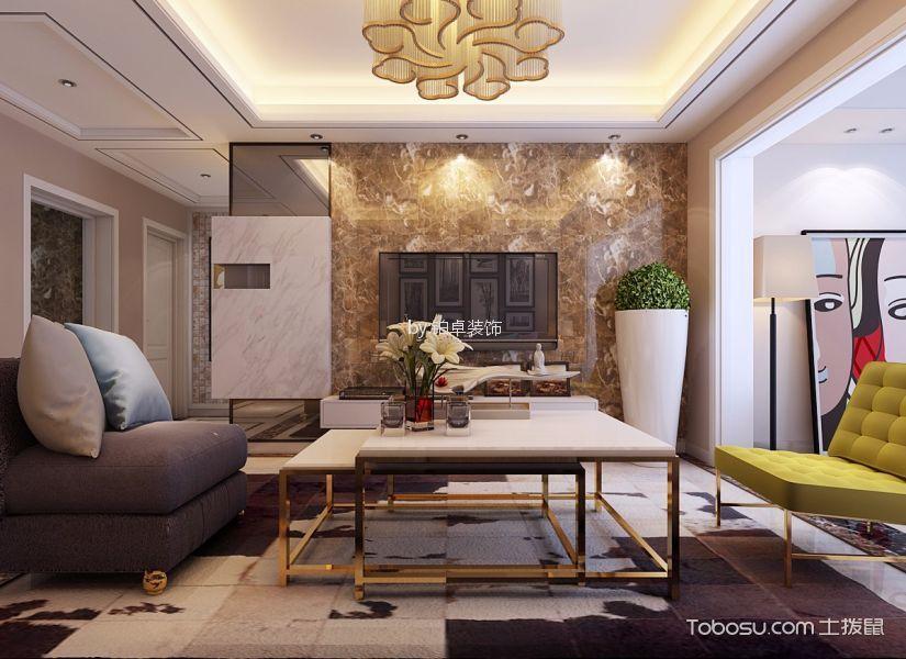 蓝鼎星河府98㎡现代风格三居室装修效果图