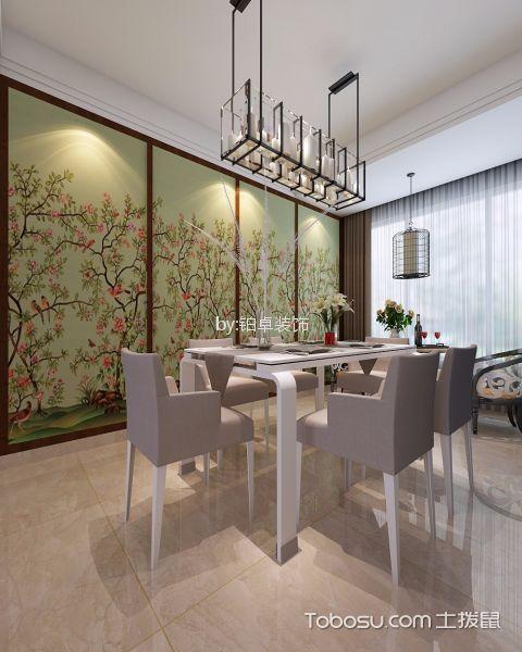 餐厅彩色背景墙简中风格装饰效果图