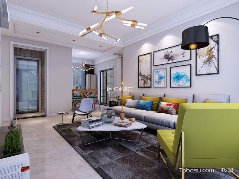 客厅白色吊顶简约风格装潢效果图