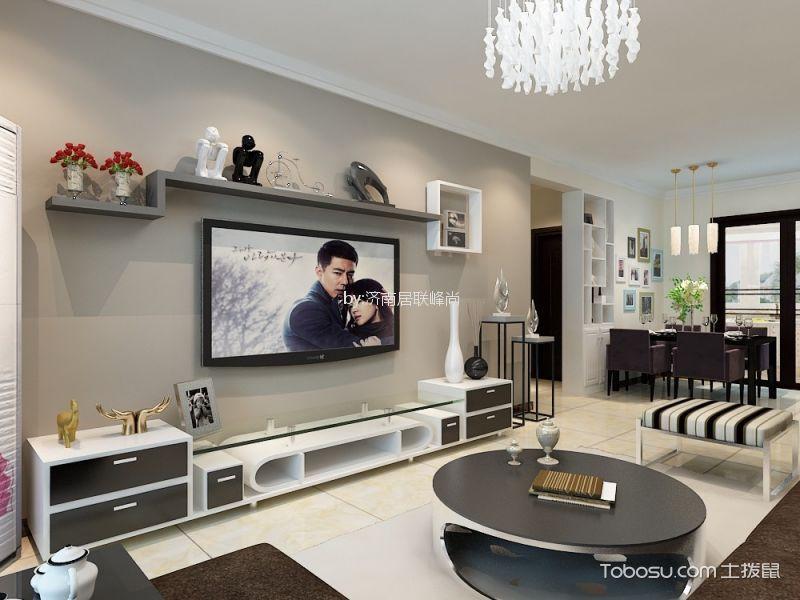 客厅灰色背景墙现代简约风格装修设计图片