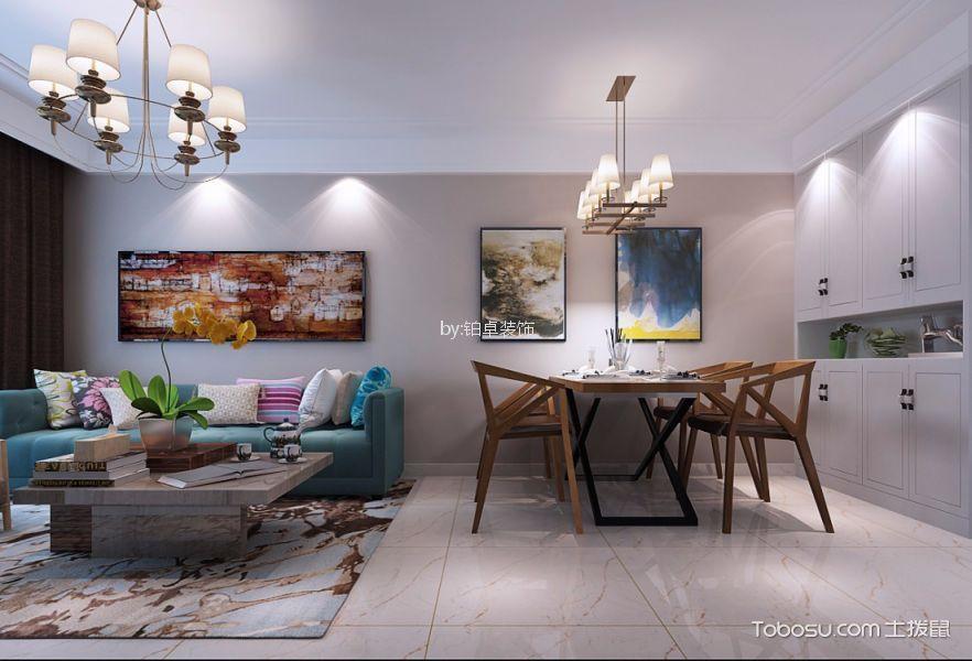 银河广场89㎡现代简约三居室装修效果图