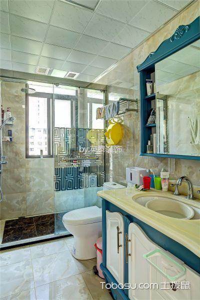 卫生间蓝色隔断欧式风格装饰图片