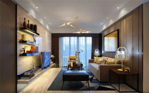 客厅黄色背景墙现代简约风格装饰设计图片