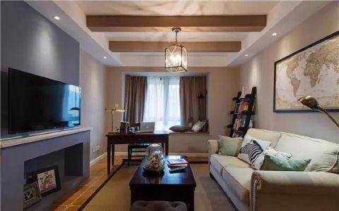 客厅蓝色吊顶美式风格装饰效果图