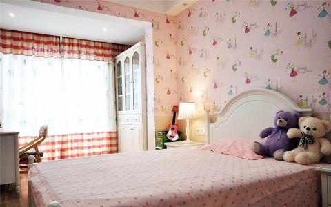 卧室红色背景墙新中式风格装潢效果图