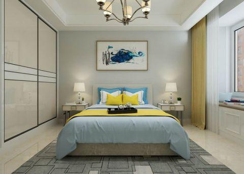 卧室白色背景墙现代简约风格装潢图片