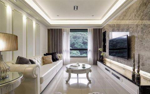客厅白色背景墙欧式风格装饰设计图片