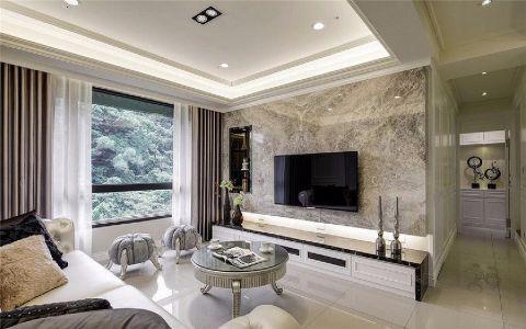 客厅白色背景墙欧式风格装修效果图