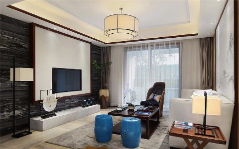 客厅白色背景墙新中式风格装修效果图