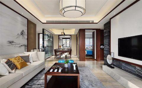 文一托斯卡纳89平新中式风格三居室装修效果图