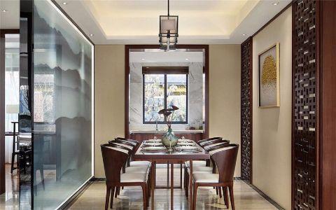 餐厅白色背景墙新中式风格装潢效果图
