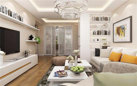 客厅白色背景墙简欧风格效果图