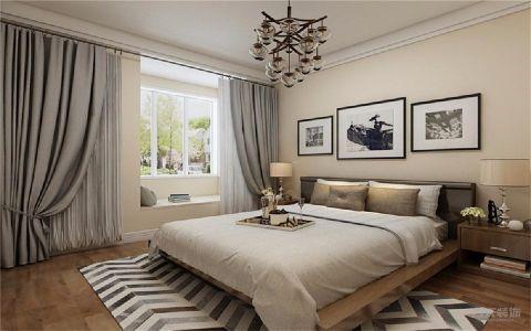 卧室米色背景墙简欧风格装潢效果图